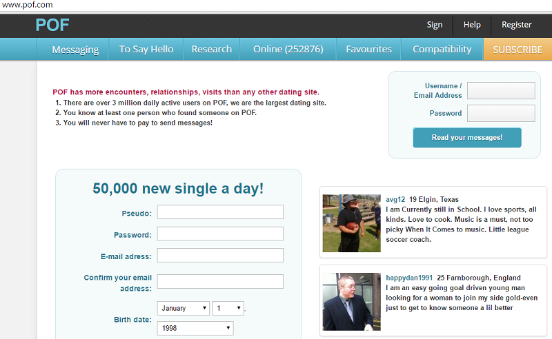 plentyoffish login page