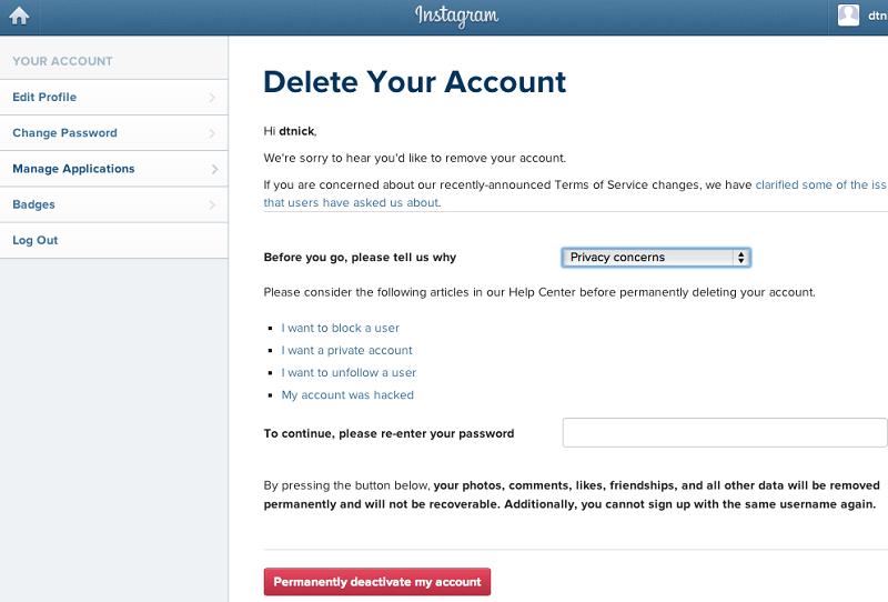 deactivate instagram and delete instagram account
